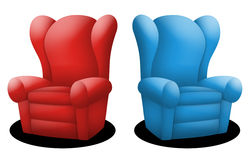 Couches. In red and blue facing opposite each other Stock Image