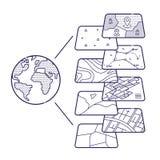 Couches données de concept de GIS pour Infographic illustration libre de droits