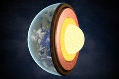 Couches et structure de la terre 3D a rendu l'illustration Photos stock