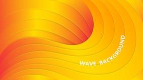 Couches onduleuses oranges avec une ombre et un éclat Fond abstrait de vecteur coupe de papier lames du vert de la centrale de l' illustration stock