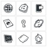 CouchSurfing ikony ustawiać również zwrócić corel ilustracji wektora royalty ilustracja