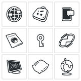 CouchSurfing symbolsuppsättning också vektor för coreldrawillustration Arkivbilder