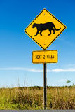 Cougar crossing traffic sign Stock Photography