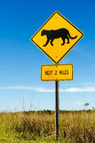Cougar crossing traffic sign stock photo