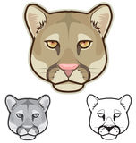 Cougar Faces. Illustration of cougar faces in color, grayscale and black and white Stock Photo