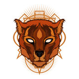Cougar head with ornament Royalty Free Stock Photo