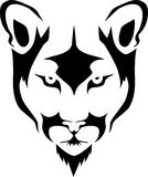 Cougar head. Stylized black and white vector illustration Stock Photo