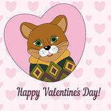 Cougar in the jersey. Happy Valentine's Day!. Cougar in the jersey. Picture for clothes, cards, covers. Happy Valentine's Day Royalty Free Stock Photo