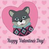 Cougar in the jersey. Picture for clothes, cards. Covers. Happy Valentine's Day Stock Images
