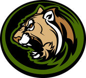 Cougar Mascot Head Graphic. Graphic Mascot Image of a Cougar Body Royalty Free Stock Image