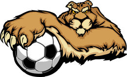 Cougar Mascot with Soccer Ball Illustration. Graphic Mascot Image of a Cougar with Paws on a Soccer Ball Stock Photography