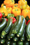 Cougettes and peppers Royalty Free Stock Images