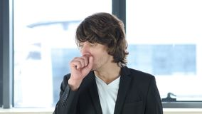 Cough, Businessman Coughing In His Office Royalty Free Stock Photos