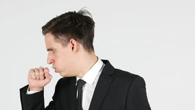 Cough, Businessman Coughing, White Background. High quality Stock Images