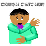 Cough catcher illustration. Cough catcher flu germ poster illustration on solid background Royalty Free Stock Photography