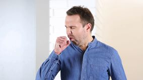 Cough, Coughing Middle Aged Man, Royalty Free Stock Image