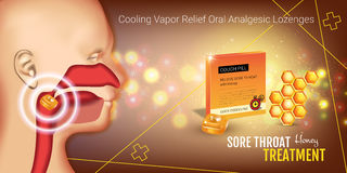 Cough Drops ads. Vector 3d Illustration with honey pills for throat. Royalty Free Stock Photos