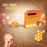 Cough Drops ads. Vector 3d Illustration with honey pills for throat. Stock Photography