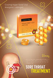 Cough Drops ads. Vector 3d Illustration with honey pills for throat. Royalty Free Stock Images