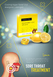 Cough Drops ads. Vector 3d Illustration with lemon pills for throat. Royalty Free Stock Photography