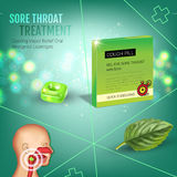 Cough Drops ads. Vector 3d Illustration with mint pills for throat. Royalty Free Stock Image