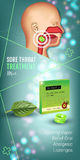 Cough Drops ads. Vector 3d Illustration with mint pills for throat. Vertical banner with product`s package Royalty Free Stock Photo