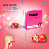 Cough Drops ads. Vector 3d Illustration with strawberry pills for throat. Stock Photo