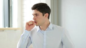 Cough, Man Coughing in Office, Indoor Royalty Free Stock Photo