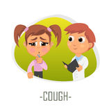 Cough medical concept. Vector illustration. Doctor and patient are talking in the hospital. Isolated on white background Stock Photo