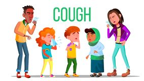 Cough People Vector. Coughing Concept. Sick Child, Teen. Sneeze Person. Virus, Illness. Illustration vector illustration