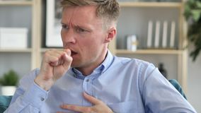Cough, Portrait of Sick Businessman Coughing at Work. The Cough, Portrait of Sick Businessman Coughing at Work, high quality stock footage