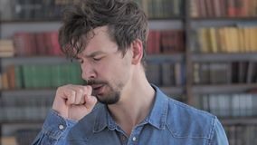 Cough, Portrait of Sick Casual Young Man Coughing at Work. The Cough, Portrait of Sick Casual Young Man Coughing at Work, high quality stock video footage