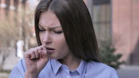 Cough, Portrait of Sick Woman Coughing at Work. 4k , high quality stock video footage