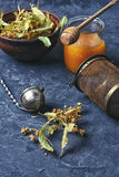 Cough remedy of linden and honey Royalty Free Stock Photography