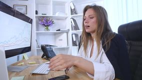 Cough, runny nose, sick woman, office. Cough runny nose sick woman office stock footage