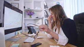 Cough, runny nose, sick woman, office Stock Photo