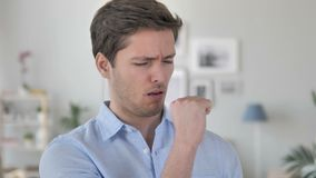 Cough, Sick Handsome Young Man Coughing at Work. 4k high quality, 4k high quality stock video