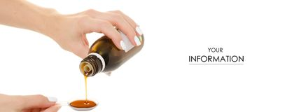 Cough syrup in hand pattern. On a white background isolation Royalty Free Stock Photography