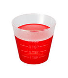 Cough Syrup Medicine Cup isolated. Over white background. Isolation is on a transparent layer in the PNG format royalty free stock photo
