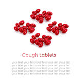 Cough tablets, Red medicine isolated on white background Stock Images