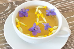 Cough tea with violet and cowslip. Cup of herb tea with violet and cowslip blossoms on wooden background Stock Image