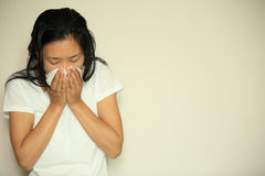 Cough woman sneeze nose Royalty Free Stock Photography