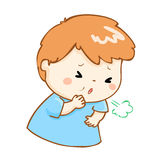 Coughing boy cartoon  illustration. Ill boy coughing hard cause flu disease Stock Photography