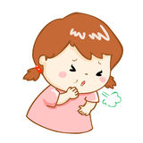 Coughing girl cartoon  illustration. Ill girl coughing hard cause flu disease Royalty Free Stock Images