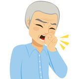 Coughing Senior Man. Illustration of senior man coughing with fist in front of mouth Stock Image