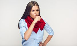 Coughing sick woman isolated portrait. On gray wall Stock Images