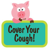 Coughing Swine Holding Sign Stock Image