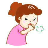 Coughing woman cartoon  illustration. Ill woman coughing hard cause flu disease Stock Images
