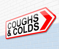 Coughs and colds concept. Illustration depicting a sign with a coughs and colds concept Stock Photo