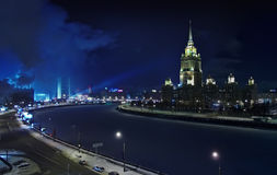 Could Moscow. At night. Frozen  river,  tower, parliament Stock Image